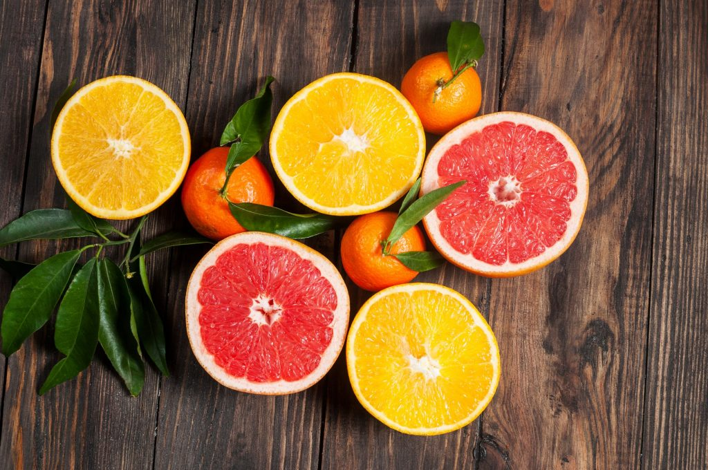 citrus fruits cut in half