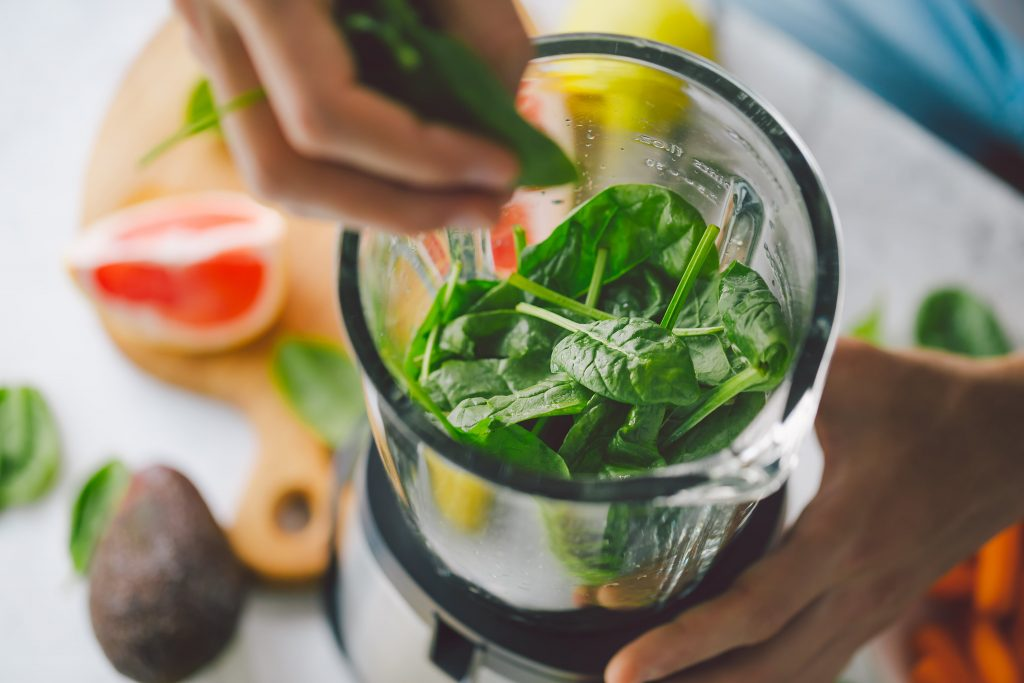 spinach in a blender