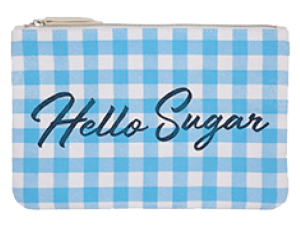 "blue and white checkered pouch that says ""Hello Sugar"""