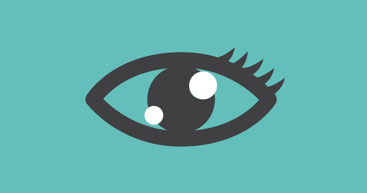 graphic of an eye on teal background