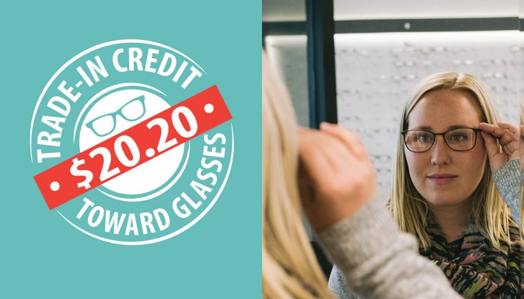 trade in credit graphic, woman looking at glasses in mirror, 20/20 vision