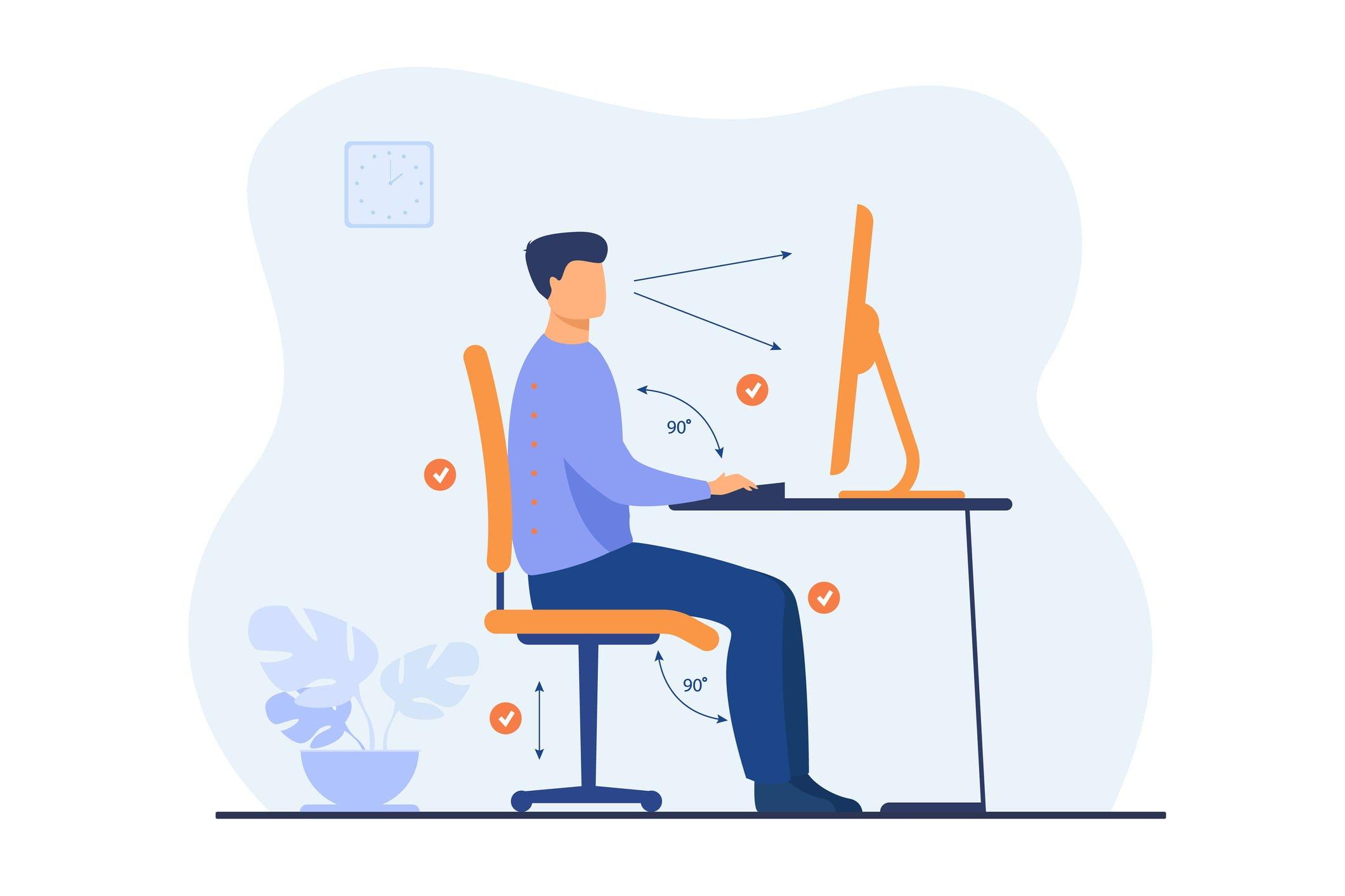 proper desk posture graphic